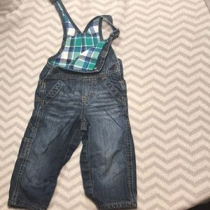 Oshkosh plaid lined denim overalls